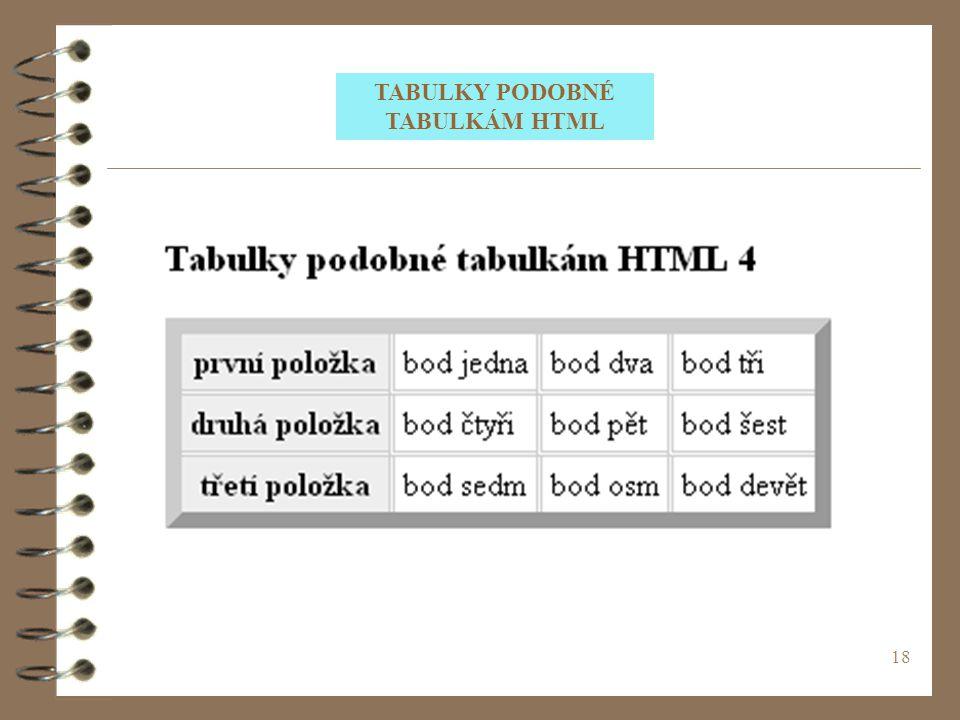 18 TABULKY PODOBNÉ TABULKÁM HTML