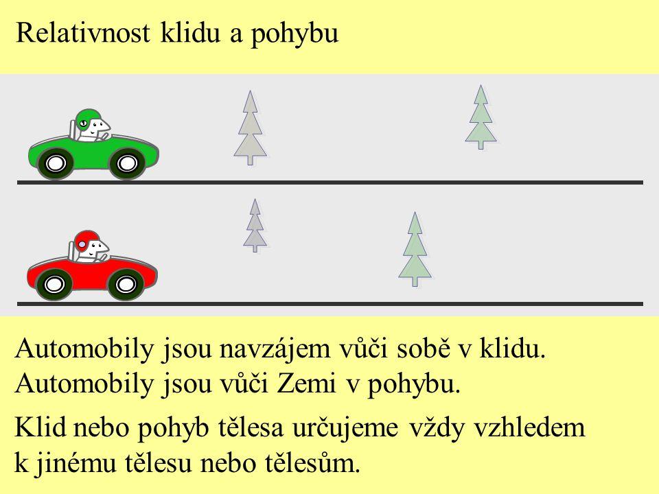 Relativnost klidu a pohybu Automobily jsou navzájem vůči sobě v klidu. Automobily jsou vůči Zemi v pohybu. Klid nebo pohyb tělesa určujeme vždy vzhled