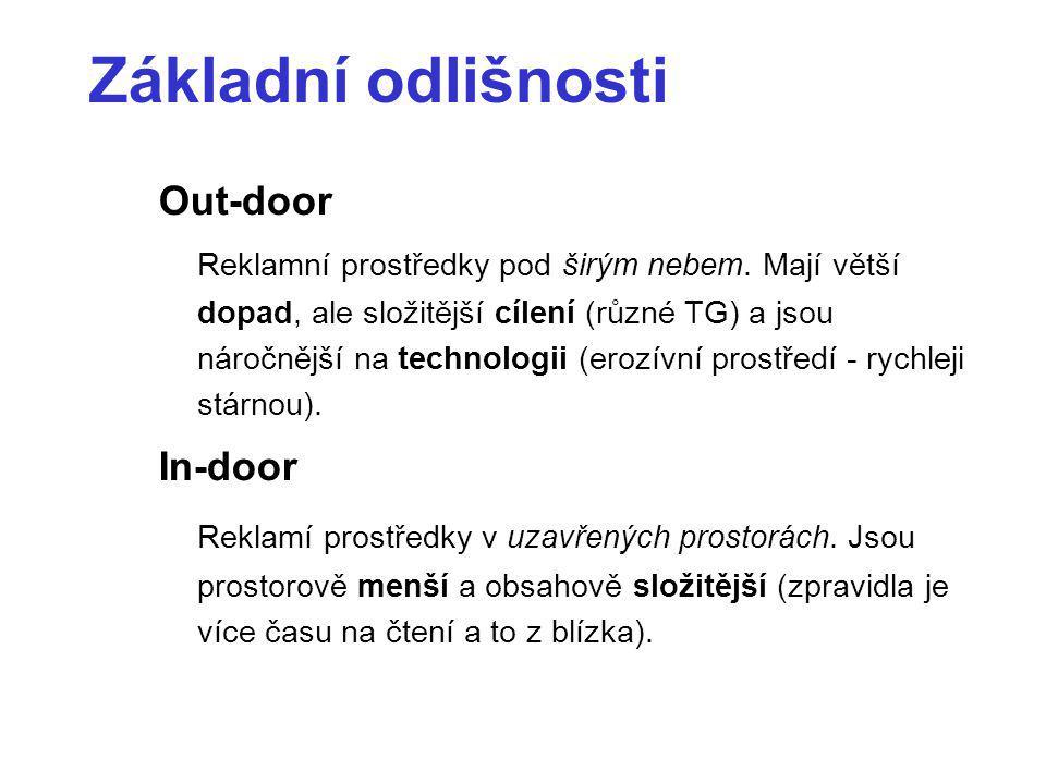 Základní odlišnosti Out-door Reklamní prostředky pod širým nebem. Mají větší dopad, ale složitější cílení (různé TG) a jsou náročnější na technologii