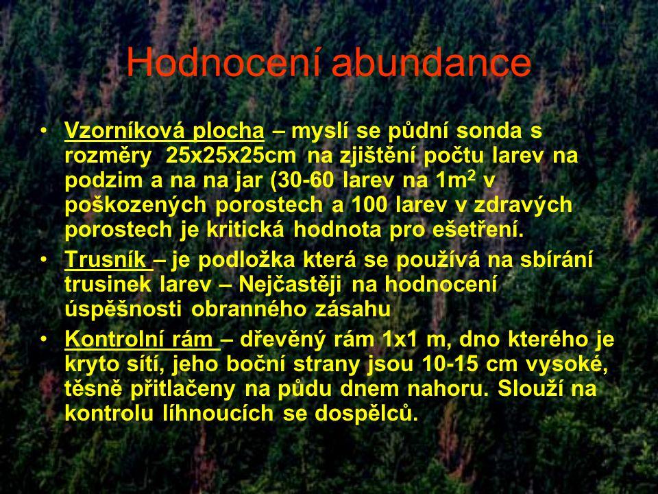 Hodnocení abundance Vzorníková plocha – myslí se půdní sonda s rozměry 25x25x25cm na zjištění počtu larev na podzim a na na jar (30-60 larev na 1m 2 v