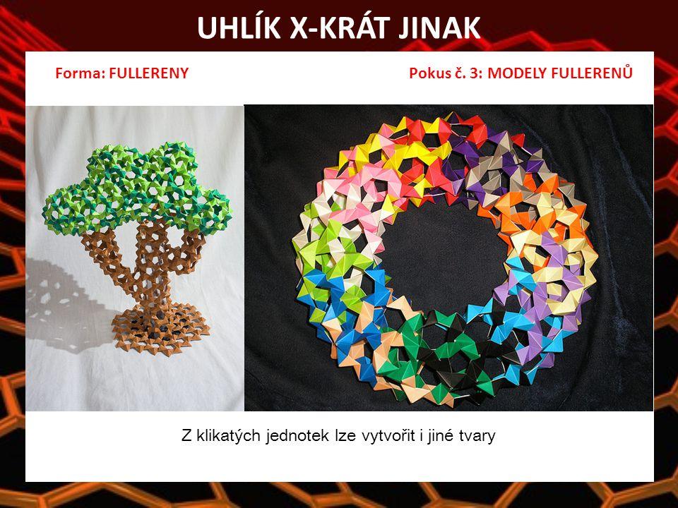 UHLÍK X-KRÁT JINAK Z klikatých jednotek lze vytvořit i jiné tvary Forma: FULLERENY Pokus č.