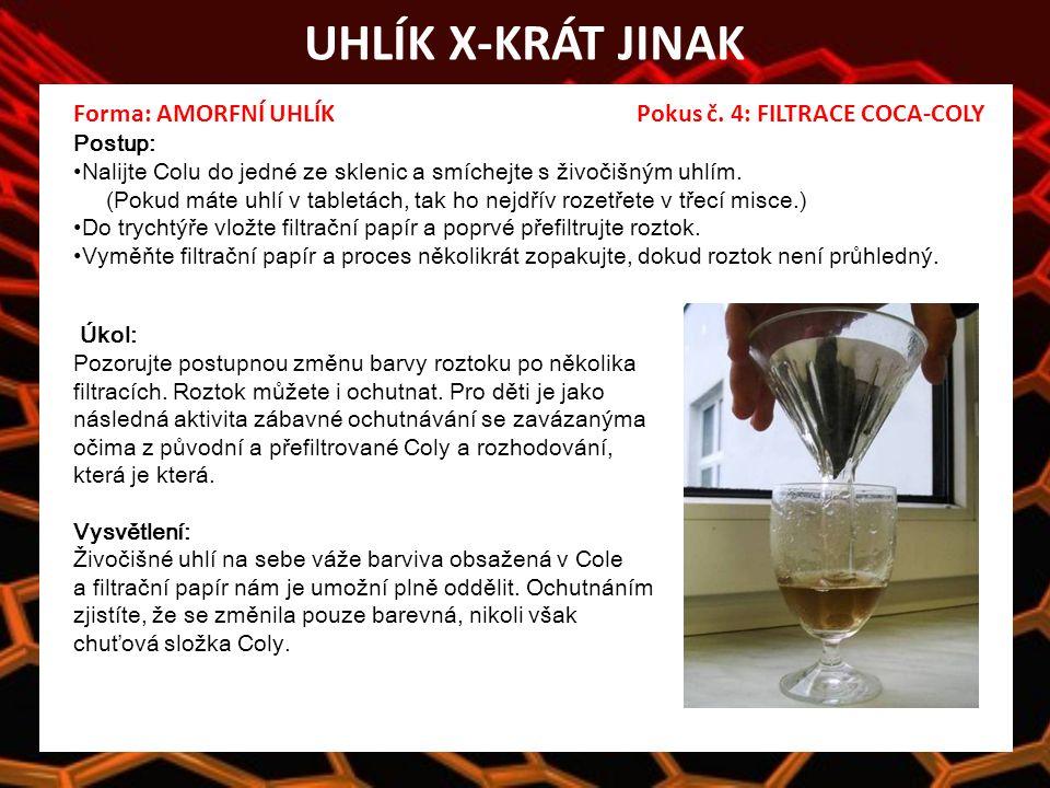 UHLÍK X-KRÁT JINAK Forma: AMORFNÍ UHLÍK Pokus č.