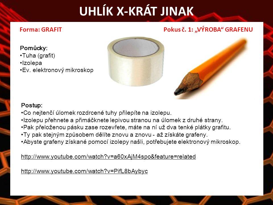 """UHLÍK X-KRÁT JINAK Forma: GRAFIT Pokus č. 1: """"VÝROBA GRAFENU Pomůcky: Tuha (grafit) Izolepa Ev."""