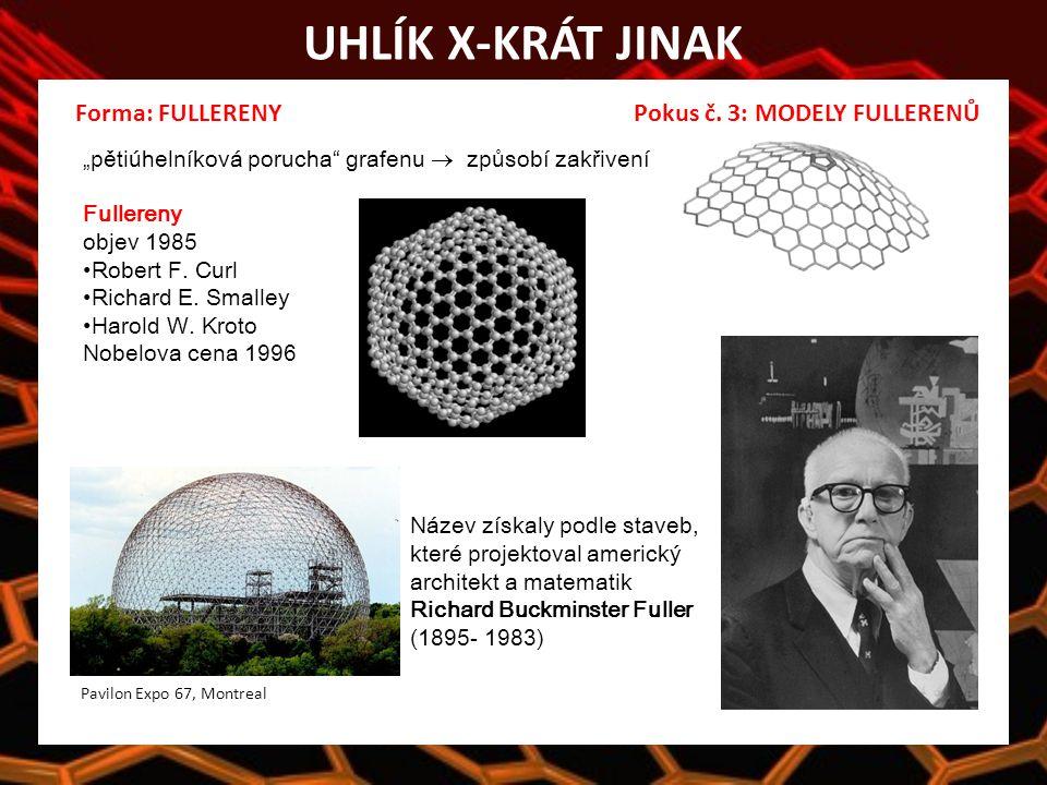 UHLÍK X-KRÁT JINAK Název získaly podle staveb, které projektoval americký architekt a matematik Richard Buckminster Fuller (1895- 1983) Forma: FULLERENY Pokus č.