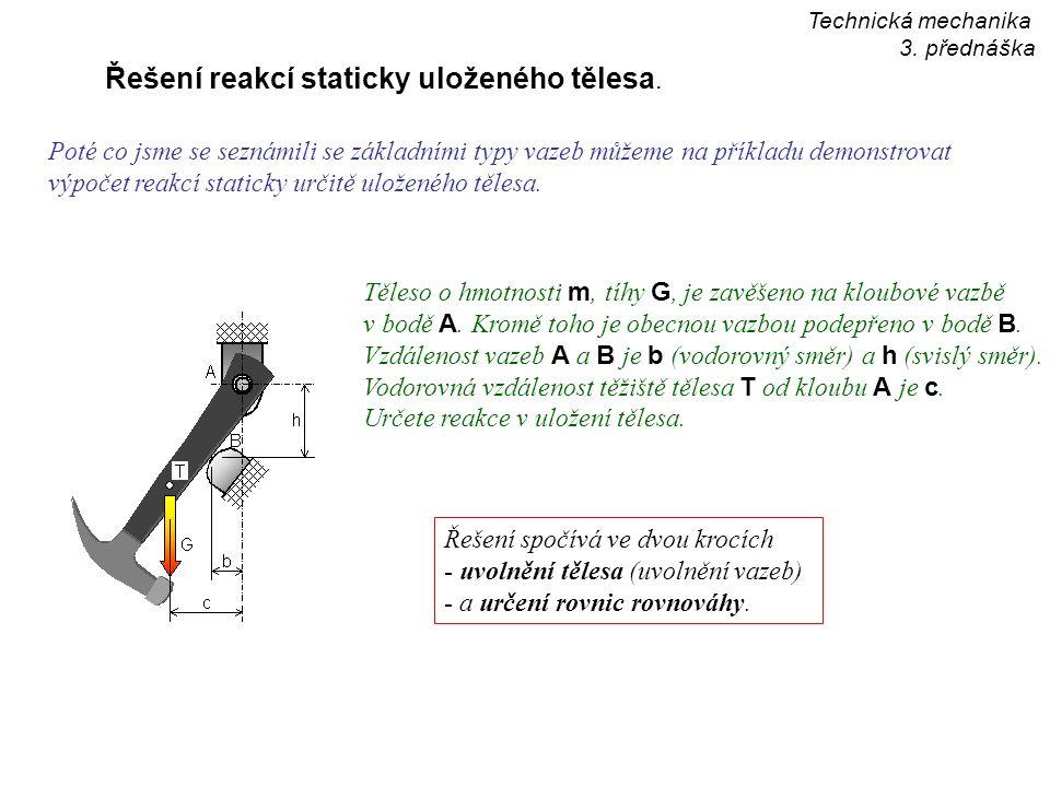 Řešení reakcí staticky uloženého tělesa. Poté co jsme se seznámili se základními typy vazeb můžeme na příkladu demonstrovat výpočet reakcí staticky ur