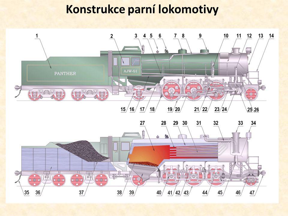 Části lokomotivy s taženým tendrem, uspořádání 1 C1 1 – Tendr se zásobou vody a uhlí 2 - Budka strojvedoucího 3 - Parní píšťala 4 - Táhlo rozvodu 5 - Pojistný ventil 6 - Turbogenerátor 7 - Písečník s potrubním rozvodem písku ke kolům 8 - Táhlo regulátoru 9 - Parní dóm 10 - Kompresor 11 - Dýmnice 12 - Přívod páry do parního stroje 13 - Dýmniční vrata 14 - Zábradlí 15 - Zadní běhoun 16 - Ochoz 17 - Rám lokomotivy 18 - Zdrž 19 - Pískovací trubka 20 - Spojnice 21 - Kulisa 22 - Ojnice 23 - Pístní tyč 24 - Válec a píst parního stroje 25 - Šoupátko 26 - Šoupátková komora 27 - Skříňový kotel, topeniště 28 - Žárové a kouřové trubky 29 - Válcový kotel 30 - Přehřívačové trubky 31 - Parní regulátor 32 - Přehřívač 33 - Komín 34 - Reflektor 35 - Brzdová hadice 36 - Vodojem 37 - Uhlák 38 - Rošt 39 - Popelník 40 - Nápravové ložisko spřaženého dvojkolí 41 - Vahadlo 42 - Listová pružnice 43 - Hnací dvojkolí 44 - Vzpěra nápravového ložiska 45 - Dyšna 46 - Přední běhoun 47 - Samočinné spřáhlo