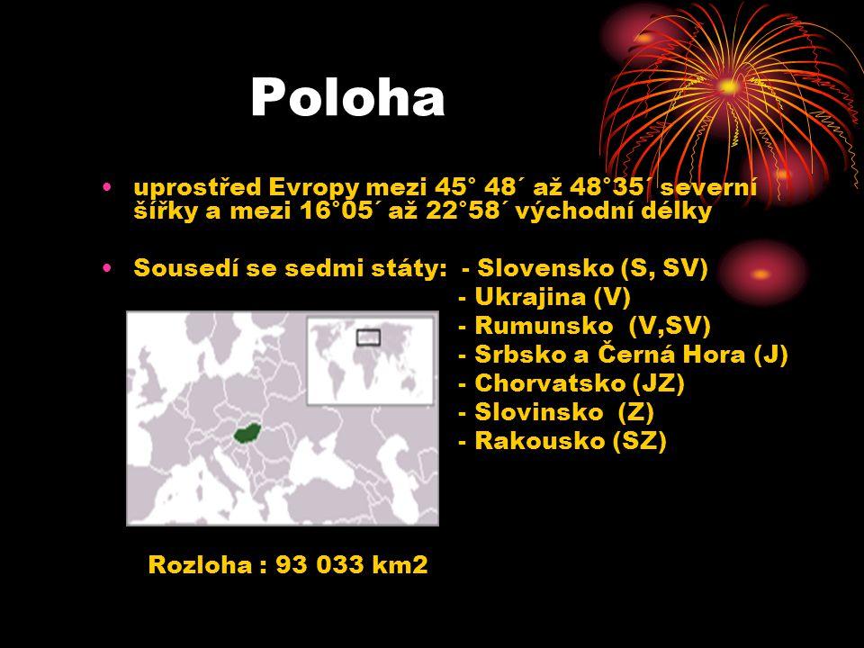 Poloha uprostřed Evropy mezi 45° 48´ až 48°35´ severní šířky a mezi 16°05´ až 22°58´ východní délky Sousedí se sedmi státy: - Slovensko (S, SV) - Ukra