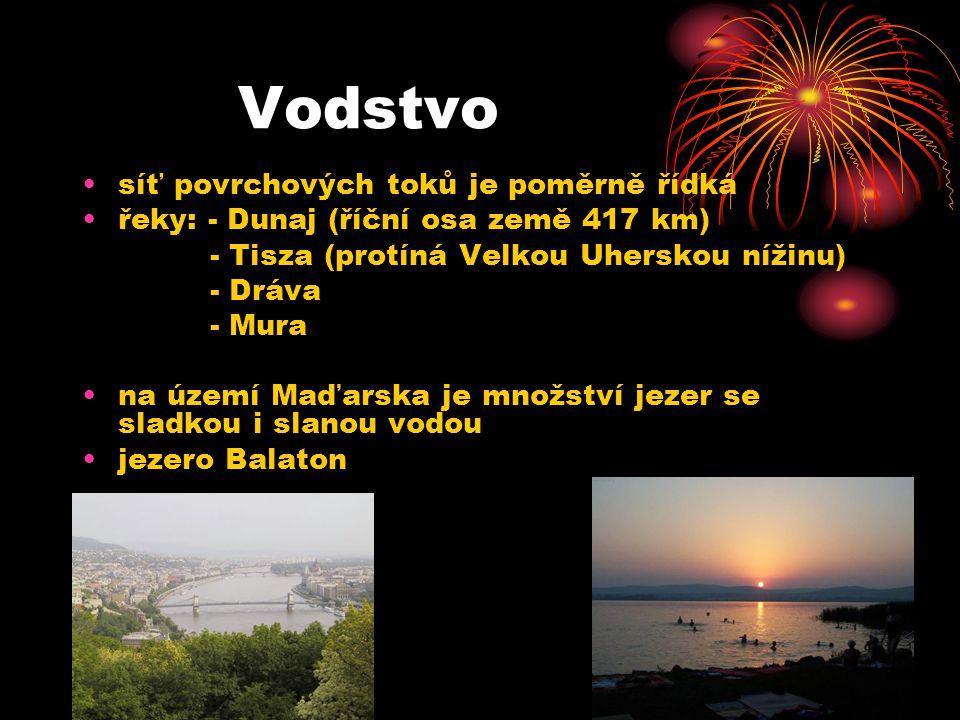 Vodstvo síť povrchových toků je poměrně řídká řeky: - Dunaj (říční osa země 417 km) - Tisza (protíná Velkou Uherskou nížinu) - Dráva - Mura na území M