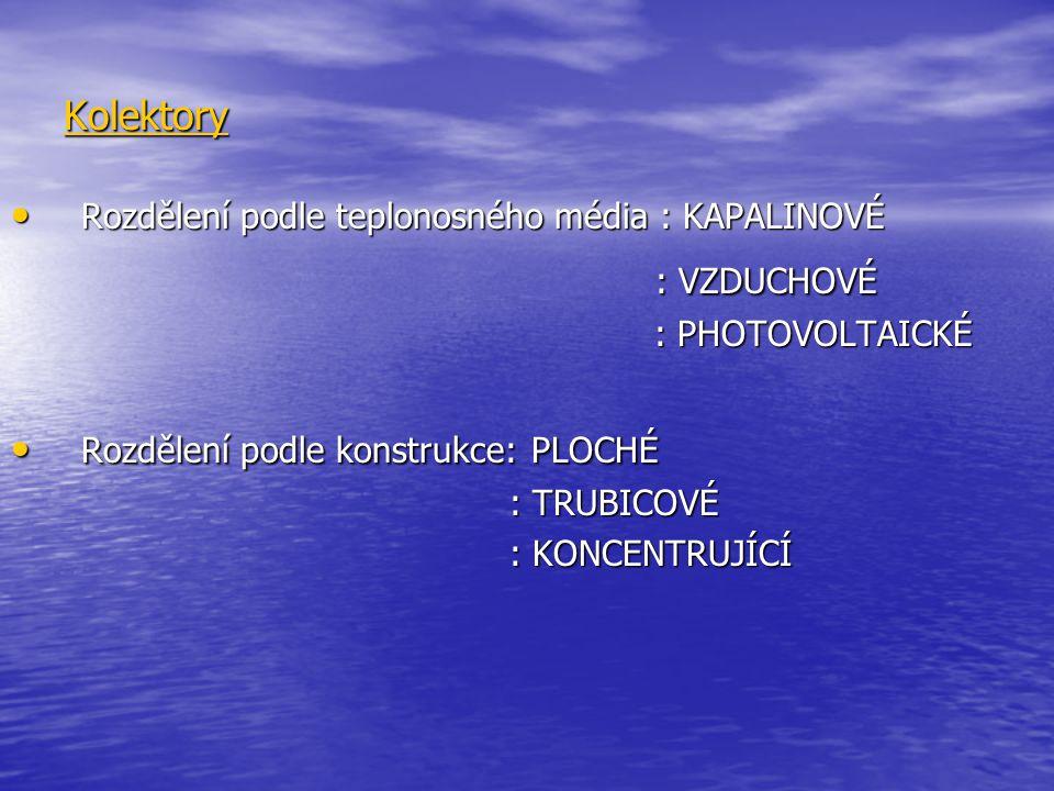 Kolektory Rozdělení podle teplonosného média : KAPALINOVÉ Rozdělení podle teplonosného média : KAPALINOVÉ : VZDUCHOVÉ : VZDUCHOVÉ : PHOTOVOLTAICKÉ : P