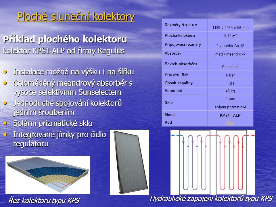 Ploché sluneční kolektory Příklad plochého kolektoru kolektor KPS1 ALP od firmy Regulus Instalace možná na výšku i na šířku Instalace možná na výšku i na šířku Celoměděný meandrový absorbér s vysoce selektivním Sunselectem Celoměděný meandrový absorbér s vysoce selektivním Sunselectem Jednoduché spojování kolektorů jedním šroubením Jednoduché spojování kolektorů jedním šroubením Solární prizmatické sklo Solární prizmatické sklo Integrované jímky pro čidlo regulátoru Integrované jímky pro čidlo regulátoru Rozměry š x d x v 1139 x 2039 x 56 mm Plocha kolektoru 2,32 m 2 Připojovací rozměry 2 x trubka Cu 12 Absorbér měď / meandrový Povrch absorbéru Sunselect Pracovní tlak 6 bar Obsah kapaliny 1,6 l Hmotnost40 kg Sklo 4 mm solární prizmatické Model KPS1 - ALP Kód6855 Řez kolektoru typu KPS Hydraulické zapojení kolektorů typu KPS
