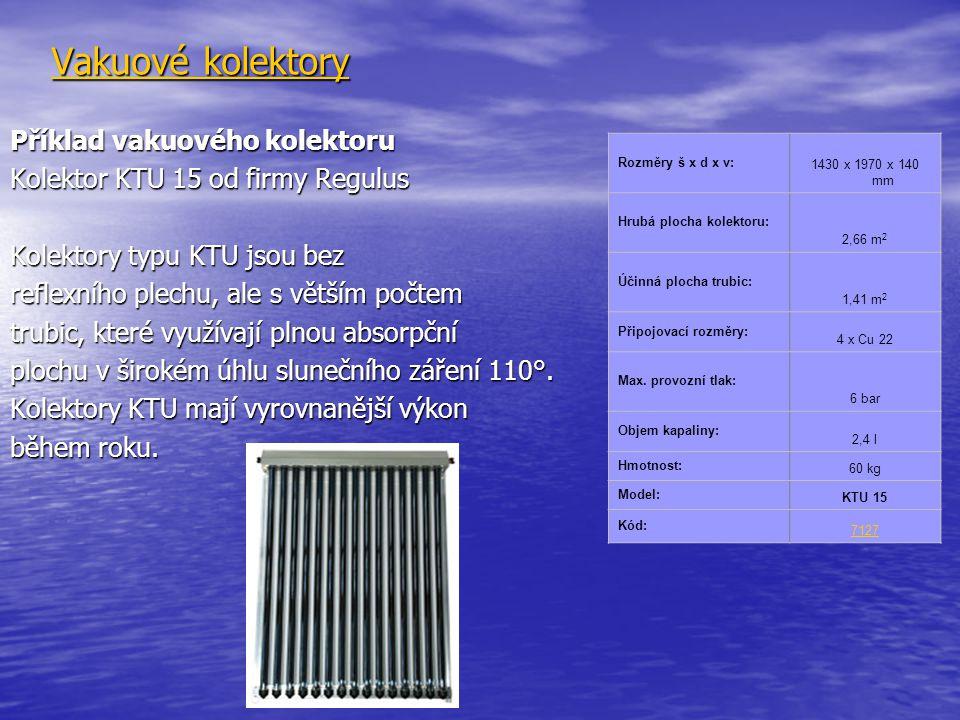 Vakuové kolektory Příklad vakuového kolektoru Kolektor KTU 15 od firmy Regulus Kolektory typu KTU jsou bez reflexního plechu, ale s větším počtem trubic, které využívají plnou absorpční plochu v širokém úhlu slunečního záření 110°.