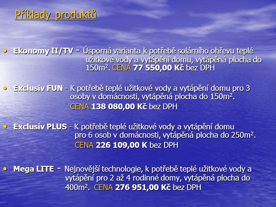 Příklady produktů Ekonomy II/TV - Úsporná varianta k potřebě solárního ohřevu teplé užitkové vody a vytápění domu, vytápěná plocha do 150m 2. CENA 77