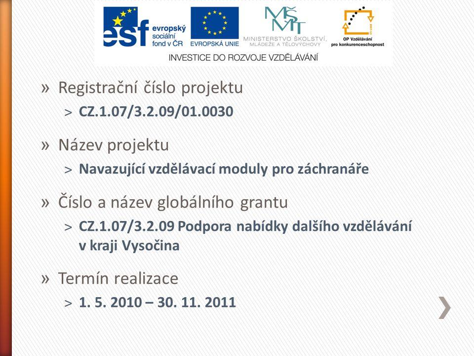» Registrační číslo projektu ˃CZ.1.07/3.2.09/01.0030 » Název projektu ˃Navazující vzdělávací moduly pro záchranáře » Číslo a název globálního grantu ˃CZ.1.07/3.2.09 Podpora nabídky dalšího vzdělávání v kraji Vysočina » Termín realizace ˃1.