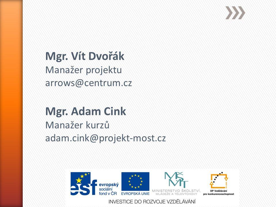Mgr. Vít Dvořák Manažer projektu arrows@centrum.cz Mgr.