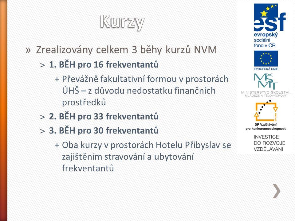 » Zrealizovány celkem 3 běhy kurzů NVM ˃1.