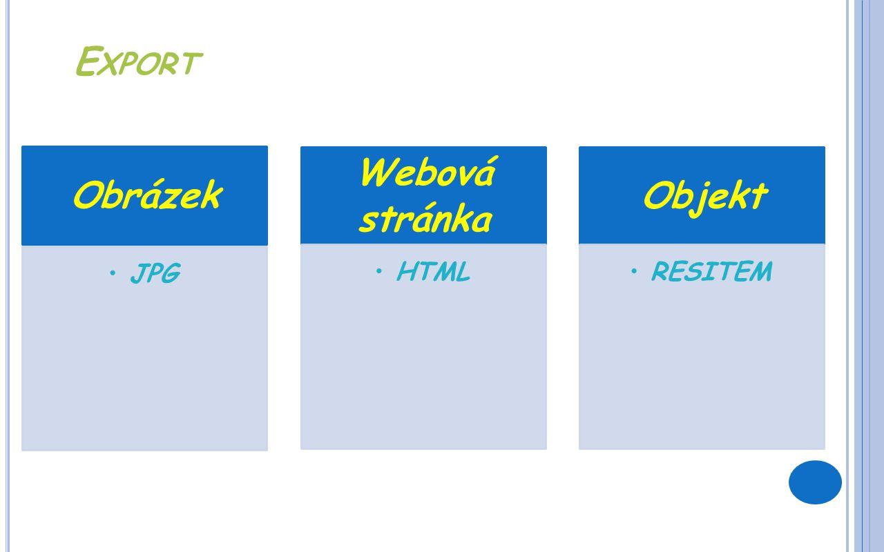E XPORT Obrázek JPG Webová stránka HTML Objekt RESITEM