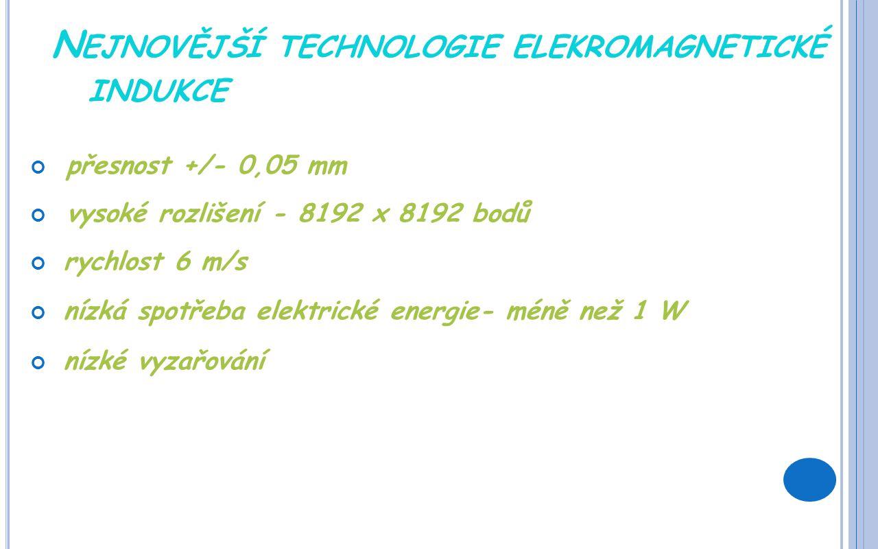 N EJNOVĚJŠÍ TECHNOLOGIE ELEKROMAGNETICKÉ INDUKCE přesnost +/- 0,05 mm vysoké rozlišení - 8192 x 8192 bodů rychlost 6 m/s nízká spotřeba elektrické energie- méně než 1 W nízké vyzařování
