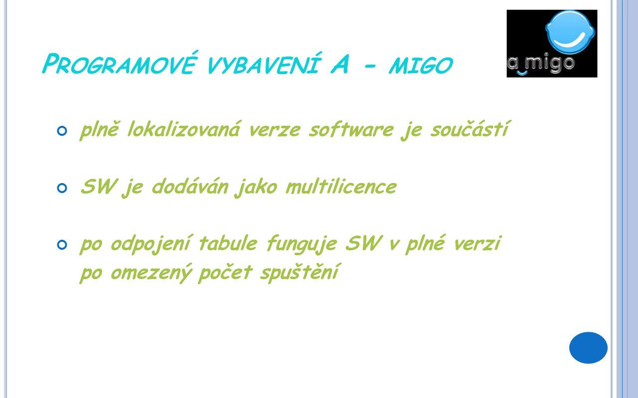 P ROGRAMOVÉ VYBAVENÍ A - MIGO plně lokalizovaná verze software je součástí SW je dodáván jako multilicence po odpojení tabule funguje SW v plné verzi po omezený počet spuštění