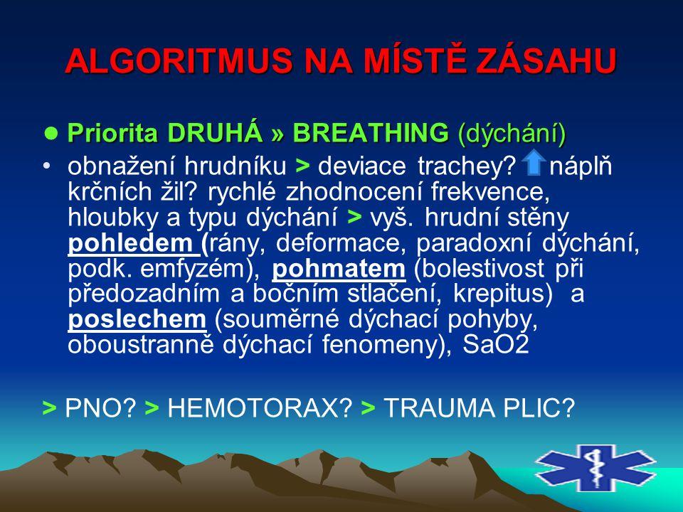 ALGORITMUS NA MÍSTĚ ZÁSAHU Priorita DRUHÁ » BREATHING (dýchání) ● Priorita DRUHÁ » BREATHING (dýchání) obnažení hrudníku > deviace trachey? náplň kr
