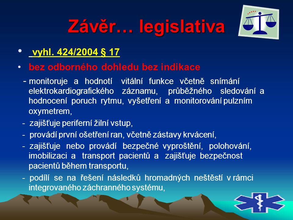 Závěr… legislativa vyhl. 424/2004 § 17 bez odborného dohledu bez indikace - monitoruje a hodnotí vitální funkce včetně snímání elektrokardiografického
