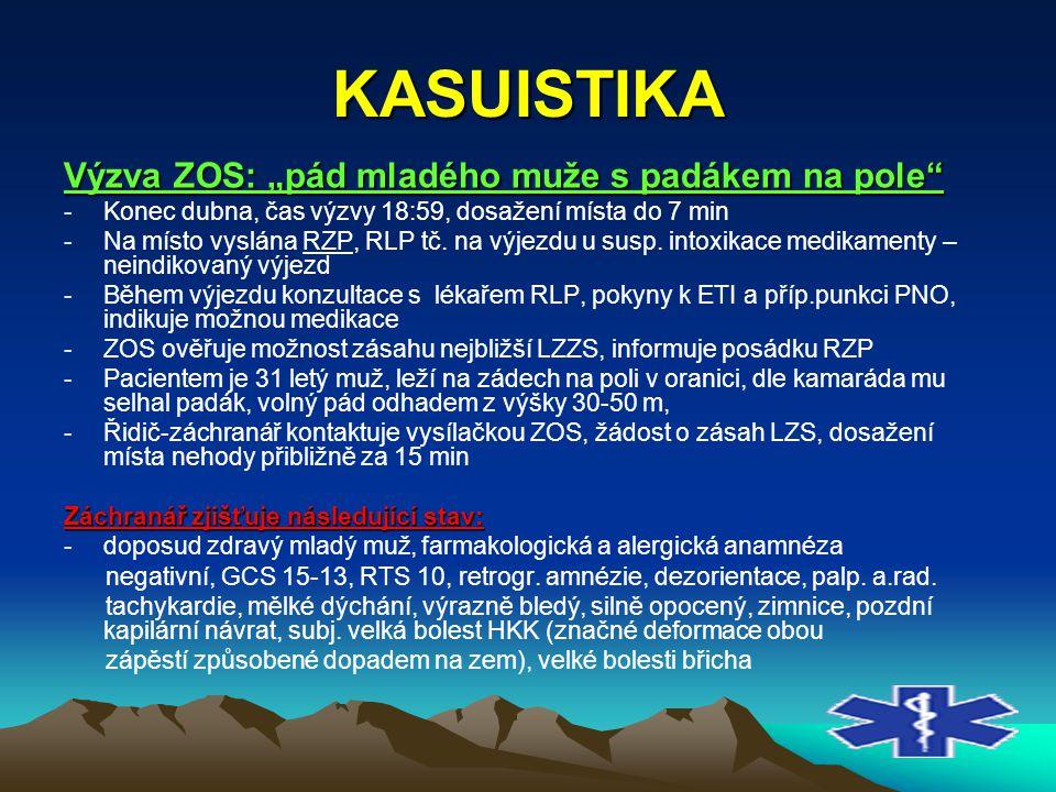 """KASUISTIKA Výzva ZOS: """"pád mladého muže s padákem na pole"""" -Konec dubna, čas výzvy 18:59, dosažení místa do 7 min -Na místo vyslána RZP, RLP tč. na vý"""