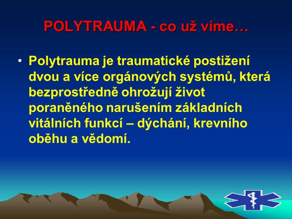 POLYTRAUMA - co už víme… Polytrauma je traumatické postižení dvou a více orgánových systémů, která bezprostředně ohrožují život poraněného narušením z