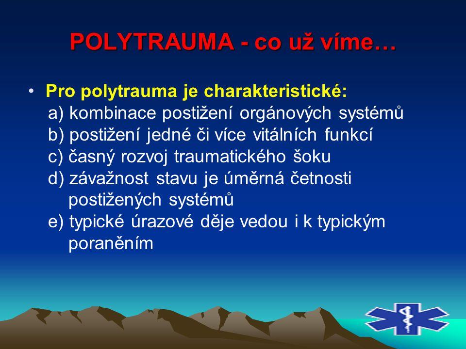 POLYTRAUMA - co už víme… Pro polytrauma je charakteristické: a) kombinace postižení orgánových systémů b) postižení jedné či více vitálních funkcí c)