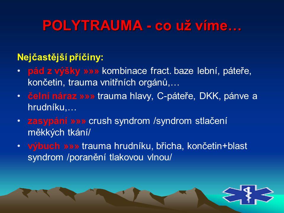 POLYTRAUMA - co už víme… Nejčastější příčiny: pád z výšky »»» kombinace fract. baze lební, páteře, končetin, trauma vnitřních orgánů,… čelní náraz »»»
