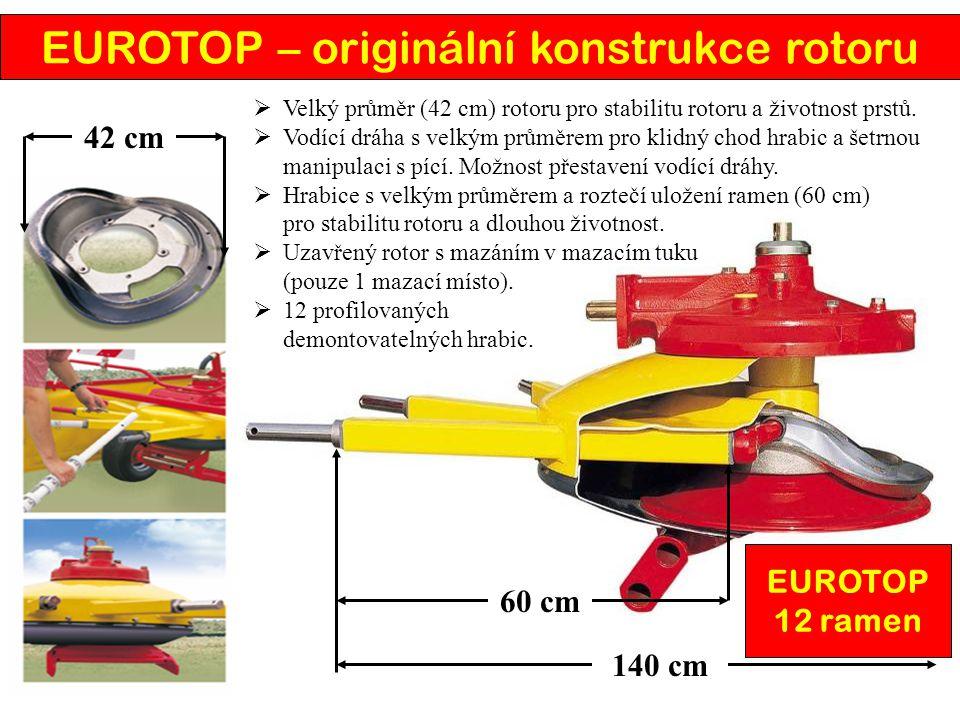 60 cm 42 cm  Velký průměr (42 cm) rotoru pro stabilitu rotoru a životnost prstů.  Vodící dráha s velkým průměrem pro klidný chod hrabic a šetrnou ma