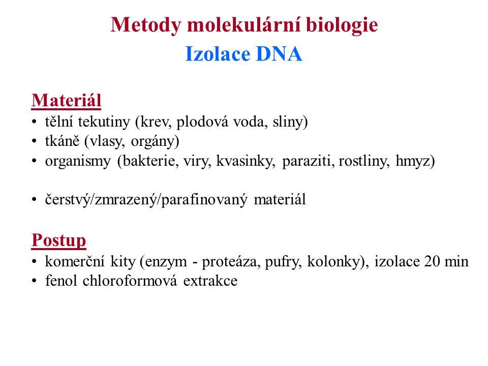 Metody molekulární biologie Izolace DNA Materiál tělní tekutiny (krev, plodová voda, sliny) tkáně (vlasy, orgány) organismy (bakterie, viry, kvasinky,