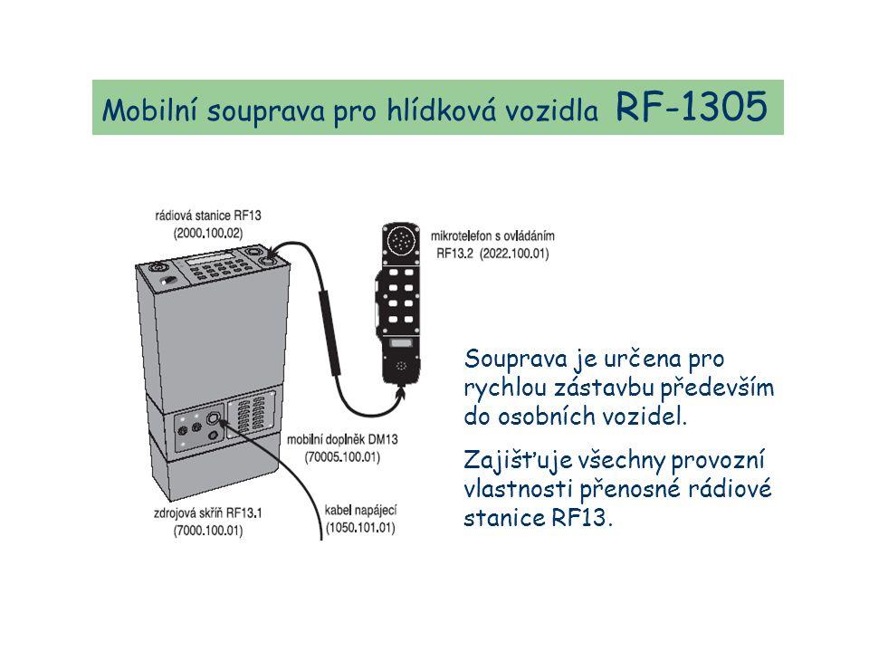 Mobilní souprava pro hlídková vozidla RF-1305 Souprava je určena pro rychlou zástavbu především do osobních vozidel.