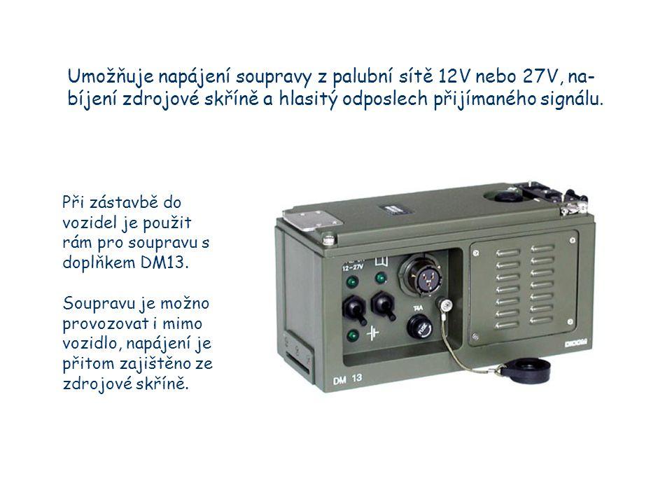 Umožňuje napájení soupravy z palubní sítě 12V nebo 27V, na- bíjení zdrojové skříně a hlasitý odposlech přijímaného signálu.