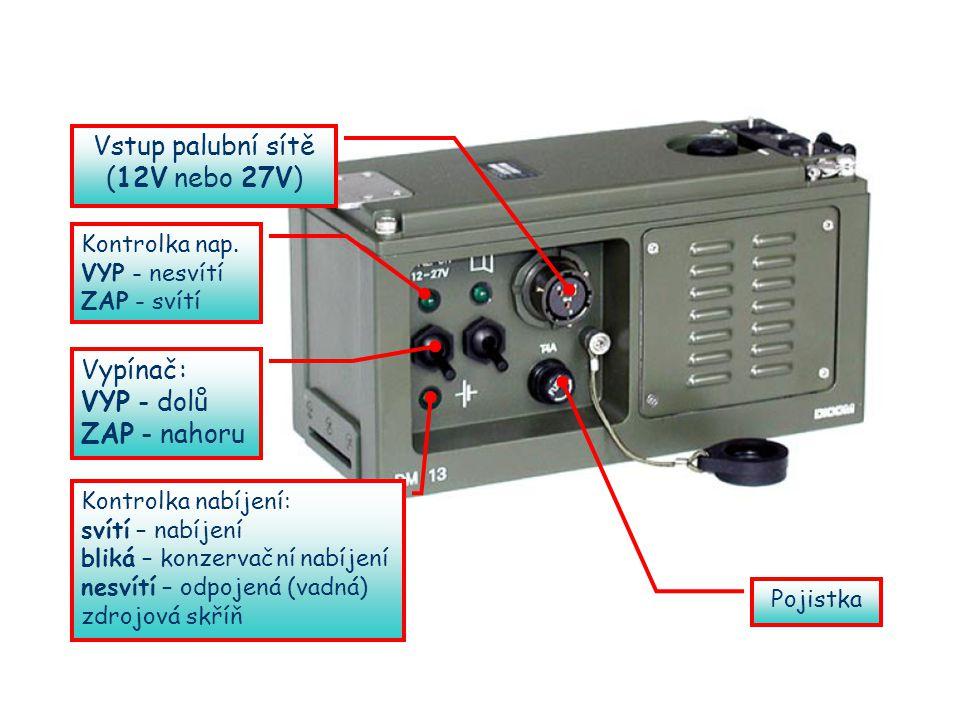 Vstup palubní sítě (12V nebo 27V) Vypínač: VYP - dolů ZAP - nahoru Kontrolka nap.