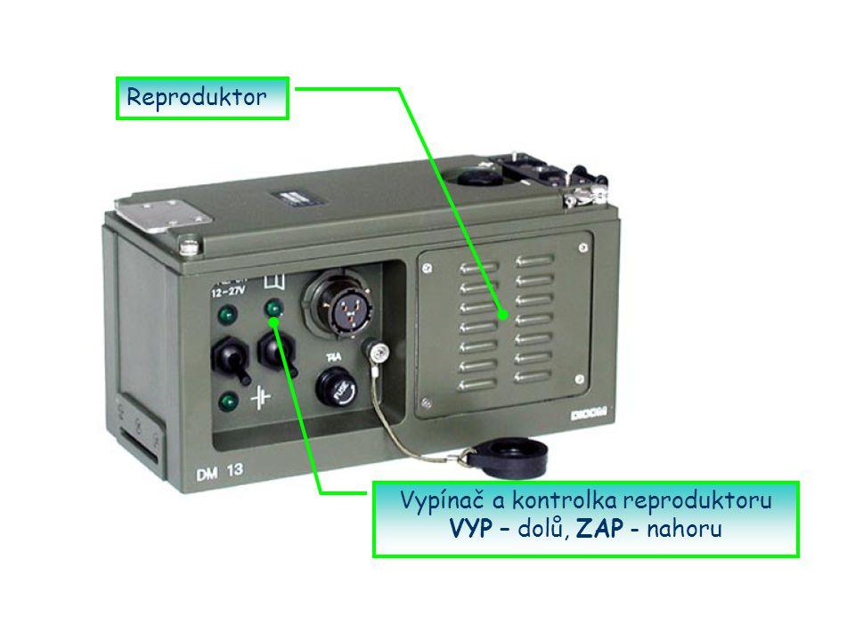 Reproduktor Vypínač a kontrolka reproduktoru VYP – dolů, ZAP - nahoru
