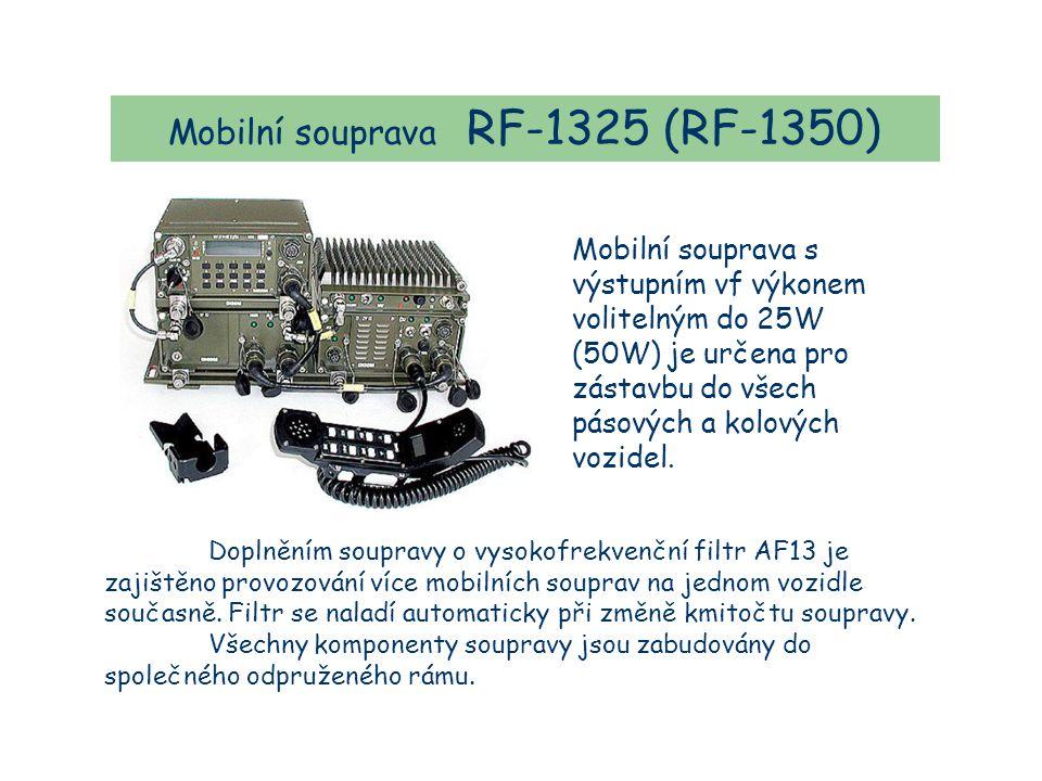 Mobilní souprava RF-1325 (RF-1350) Mobilní souprava s výstupním vf výkonem volitelným do 25W (50W) je určena pro zástavbu do všech pásových a kolových vozidel.