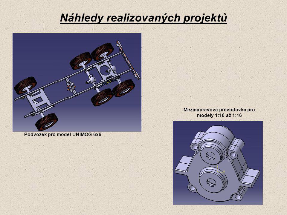 Náhledy realizovaných projektů Podvozek pro model UNIMOG 6x6 Mezinápravová převodovka pro modely 1:10 až 1:16