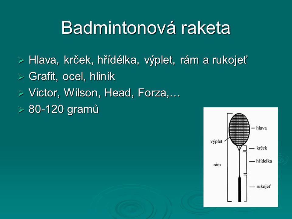Badmintonová raketa  Hlava, krček, hřídélka, výplet, rám a rukojeť  Grafit, ocel, hliník  Victor, Wilson, Head, Forza,…  80-120 gramů