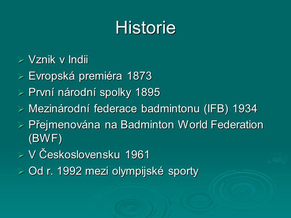 Historie  Vznik v Indii  Evropská premiéra 1873  První národní spolky 1895  Mezinárodní federace badmintonu (IFB) 1934  Přejmenována na Badminton