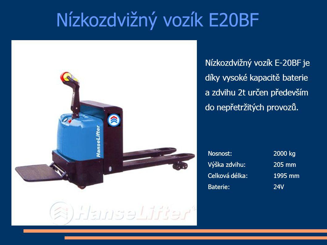 Nízkozdvižný vozík E20BF Nosnost: 2000 kg Výška zdvihu:205 mm Celková délka:1995 mm Baterie:24V Nízkozdvižný vozík E-20BF je díky vysoké kapacitě bate