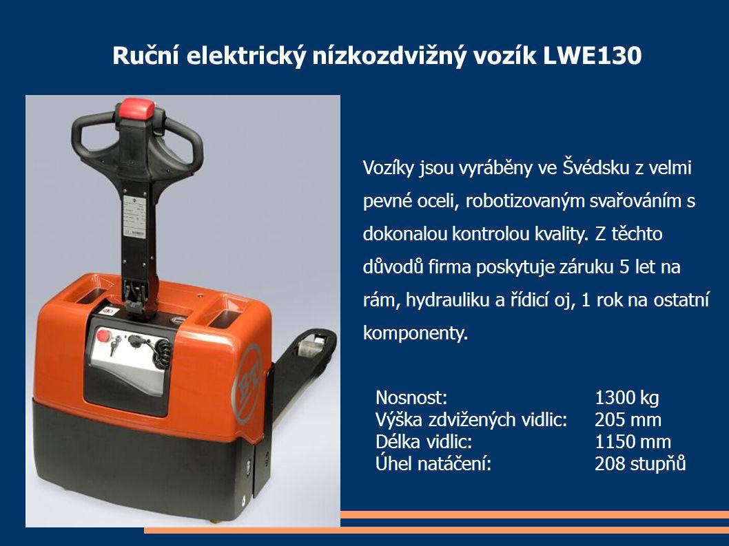 Ruční elektrický nízkozdvižný vozík LWE130 Vozíky jsou vyráběny ve Švédsku z velmi pevné oceli, robotizovaným svařováním s dokonalou kontrolou kvality
