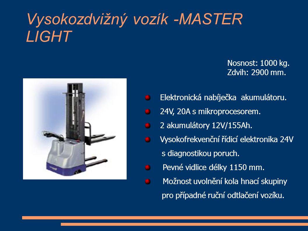 Vysokozdvižný vozík -MASTER LIGHT Nosnost: 1000 kg. Zdvih: 2900 mm. Elektronická nabíječka akumulátoru. 24V, 20A s mikroprocesorem. 2 akumulátory 12V/