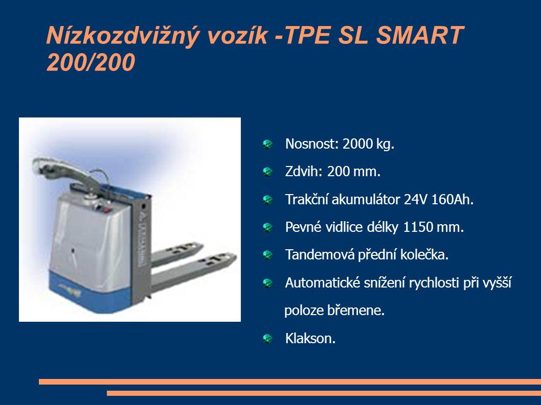 Nízkozdvižný vozík -TPE SL SMART 200/200 Nosnost: 2000 kg. Zdvih: 200 mm. Trakční akumulátor 24V 160Ah. Pevné vidlice délky 1150 mm. Tandemová přední