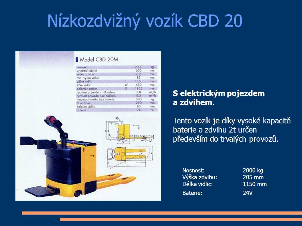 Nízkozdvižný vozík E20BF Nosnost: 2000 kg Výška zdvihu:205 mm Celková délka:1995 mm Baterie:24V Nízkozdvižný vozík E-20BF je díky vysoké kapacitě baterie a zdvihu 2t určen především do nepřetržitých provozů.
