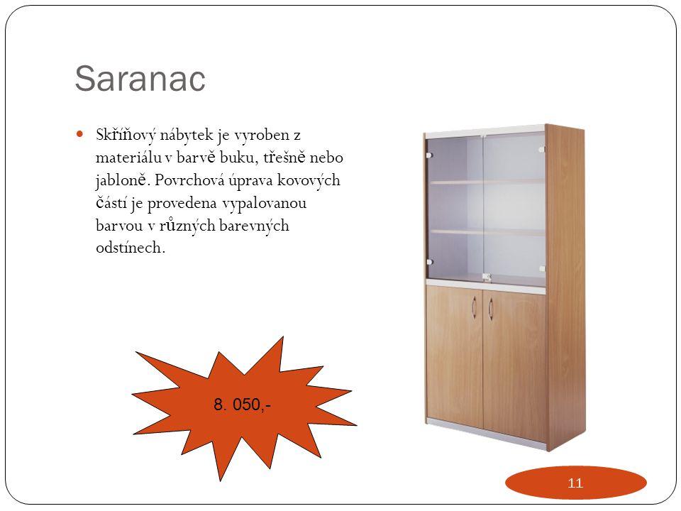 Saranac Sk ř í ň ový nábytek je vyroben z materiálu v barv ě buku, t ř ešn ě nebo jablon ě. Povrchová úprava kovových č ástí je provedena vypalovanou