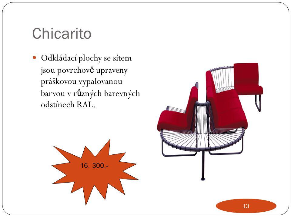 Chicarito Odkládací plochy se sítem jsou povrchov ě upraveny práškovou vypalovanou barvou v r ů zných barevných odstínech RAL. 16. 300,- 13