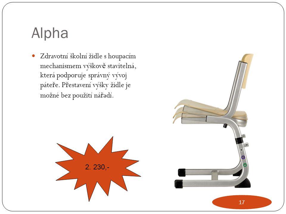 Alpha Zdravotní školní židle s houpacím mechanismem výškov ě stavitelná, která podporuje správný vývoj páte ř e. P ř estavení výšky židle je možné bez
