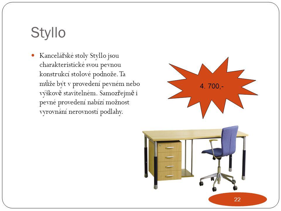 Styllo Kancelá ř ské stoly Styllo jsou charakteristické svou pevnou konstrukcí stolové podnože. Ta m ů že být v provedení pevném nebo výškov ě stavite