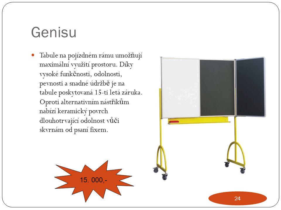 Genisu Tabule na pojízdném rámu umož ň ují maximální využití prostoru. Díky vysoké funk č nosti, odolnosti, pevnosti a snadné údržb ě je na tabule pos