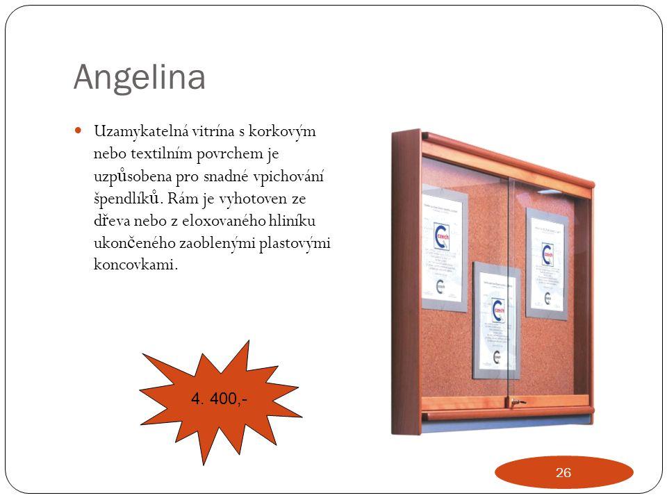 Angelina Uzamykatelná vitrína s korkovým nebo textilním povrchem je uzp ů sobena pro snadné vpichování špendlík ů. Rám je vyhotoven ze d ř eva nebo z