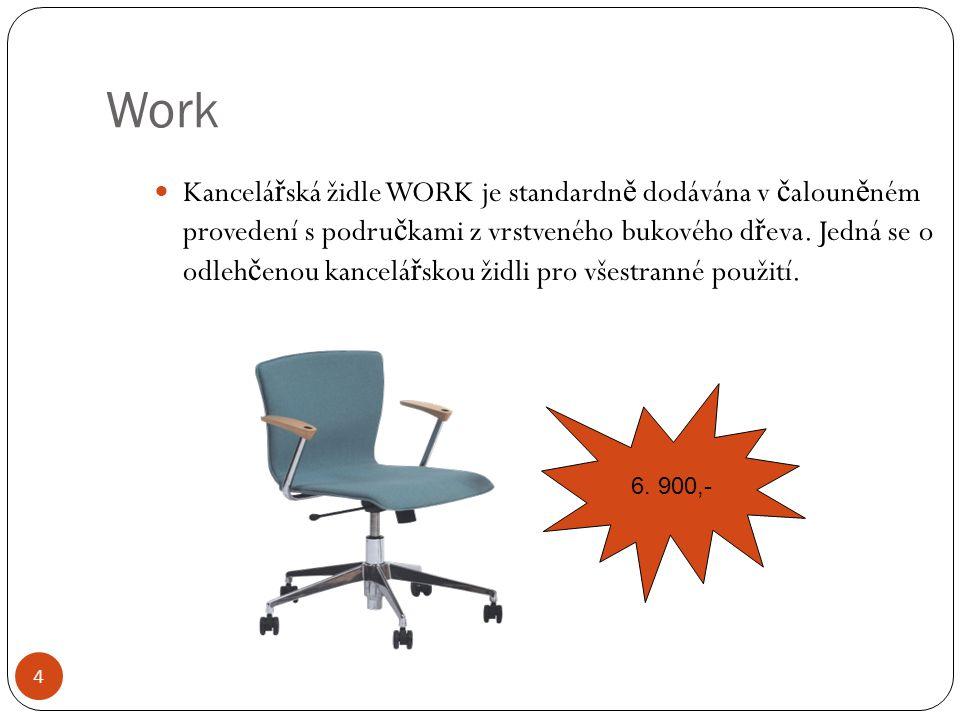 Work Kancelá ř ská židle WORK je standardn ě dodávána v č aloun ě ném provedení s podru č kami z vrstveného bukového d ř eva. Jedná se o odleh č enou